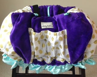 Glitz Gold Dot, Purple, and Mint Shopping Cart Cover/Restaurant High Chair Cover, Park Swing Cover