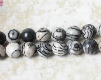 B366 Natural Network Stone Beads Supplies, Full Strand 4 6 8 10mm Round Network Gemstone Beads for DIY Jewelry Making