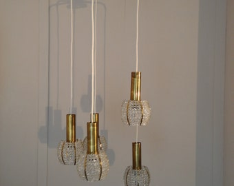 Emil Stejnar attr. 5 Pendant Drop Chandelier, Hollywood Regency, 1960s