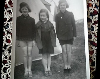 Vintage black and white photograph- Three girls in summer camp-  Mid century summer memories