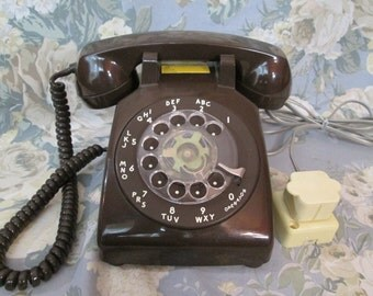 Vintage ROTARY Telephone ~ Chocolate BROWN w/ Cords, Desk Phone ~ Untested