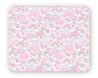 Unicorn rainbow clouds mouse pad - mouse mat - desktop mouse mat - funny mouse mat - computer pad 3P007