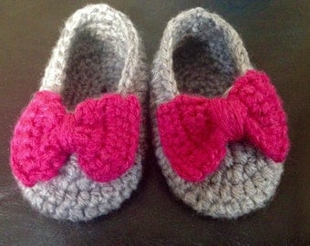 Baby bow slippers!