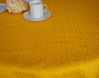Yellow Jacquard Easter Tablecloth LINEN TABLECLOTH Rectangle Linen  Tablecloth Pattern Linen For Table