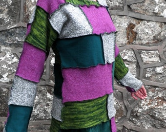 Long Green & Purple Patchwork Jumper  Size M
