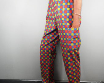 Blue Yellow Red Check Cotton Trousers  Size S - M