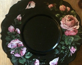 Vintage Hand Painted Floral Plate | 8 inch Black Decorative Plate |
