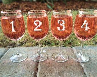 Set of 8 Numbered White Wine Glasses