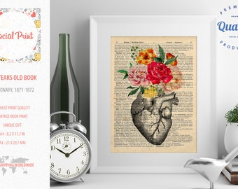 145 years old Upcycled book page Watercolor Flowers Vintage Anatomy Heart, print dictionary print encyclopedia print antique book page print