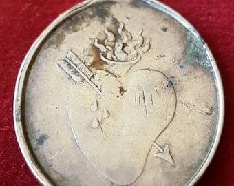 Antique Spanish Silver Immaculate Heart Medal Pendant with Saint Theresa Santa Teresa Catholic Medal Catholic Jewelry Religious Jewelry