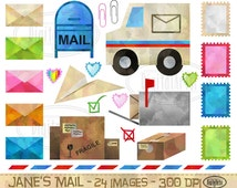 Mail Clipart - Postage Download - Instant Download - Watercolor Mail Postage Letters Stamps Items