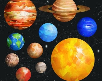 50% OFF Planets Clipart - Solar System Download - Instant Download - Watercolor Planets Graphics - Mars, Earth, Jupiter, and more!