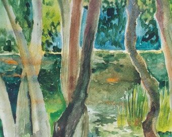 etude ORIGINAL WATERCOLOR painting  the trees by the river