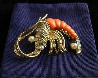 Hattie Carnegie Shrimp Brooch