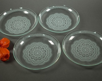 Four vintage glass plate, glass plate, gold pattern, glass tableware