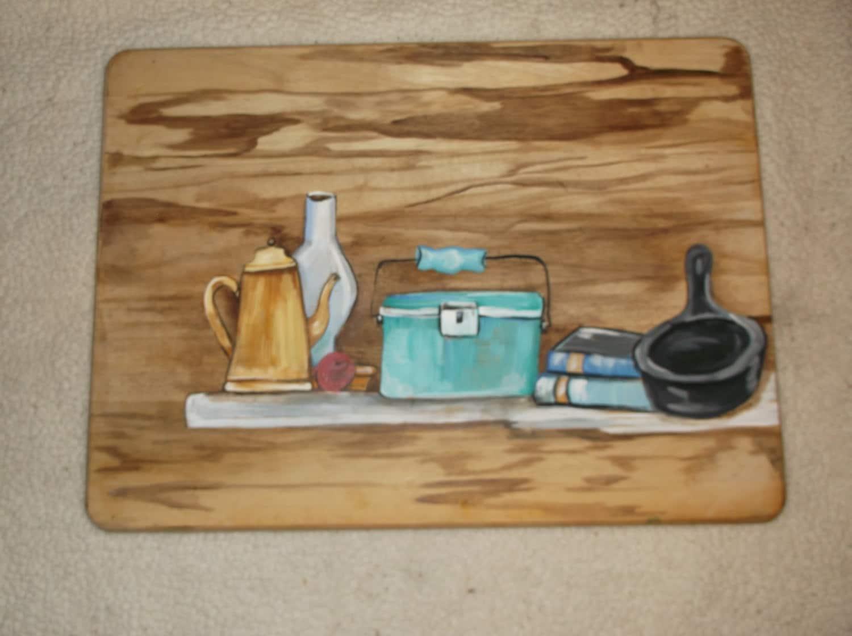 Repurposed Cutting Board Kitchen Utensils Painting