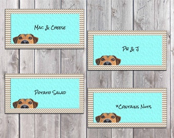 Puppy Theme Birthday Party, Puppy Buffet Labels, Instant Download Food Labels, Birthday Party Label Cards