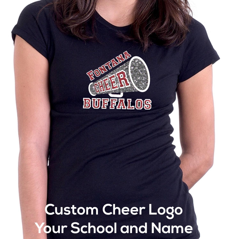 Custom Cheer Logo T Shirt Custom Design Glitter Decal Your