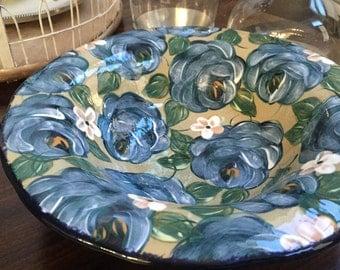 Blue and Green Floral Lesal Ceramic Bowl, Item 1098