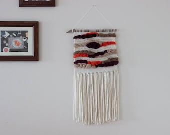 Handwoven Wall Hanging | Cream, White, Beige, Taupe, Burgundy, Tangerine, Gold