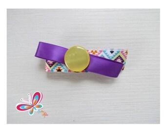 Clip hair yellow nacree button with diamond/Purple Ribbon