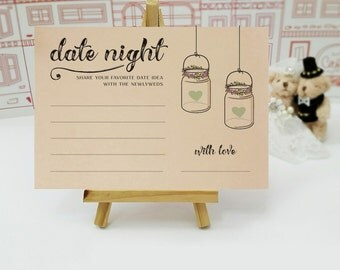 Date night ideas cards for wedding / Date night cards for bridal shower | Mason jar date night / Printed pack of 50