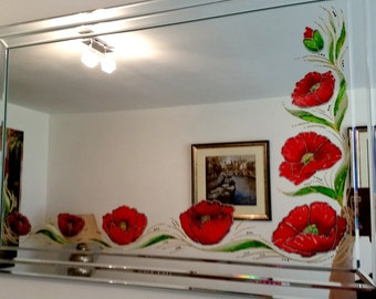 "SAMPLE for Commissions/Original Hand Painted  MIRROR ""Poppies""/red/Home interior/Home decor/Gift idea"