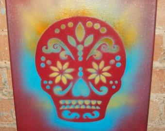 SUGAR SKULL Paintings 11x14 Red, Turquoise, Yellow & Orange OOAK