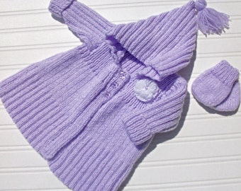 Baby hand knitted cardigan/ coat