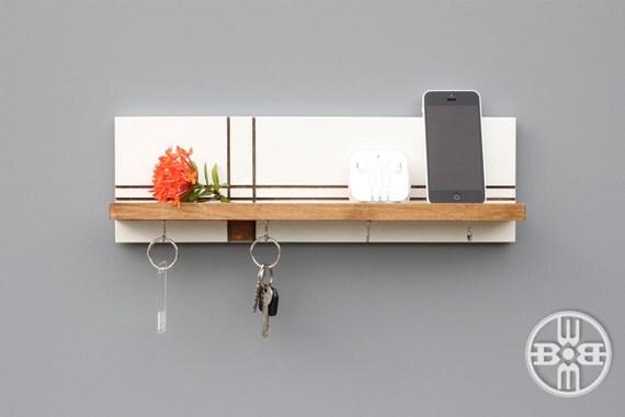 wood shelf with key hooks entryway organizer key holder for. Black Bedroom Furniture Sets. Home Design Ideas