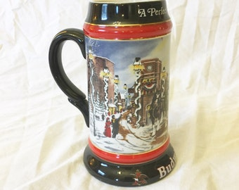 Vintage Budweiser Christmas 1992 Collectors Beer Stein, A Perfect Christmas