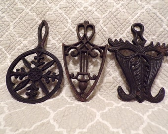 Set of 3 Cast Iron Trivets - unmarked