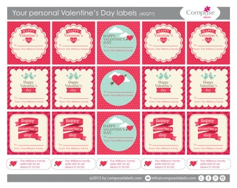 Your Valetine's day present labels (40 qty) Free Shipping