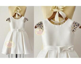 Beaded Cap Sleeves Ivory Satin Flower Girl Dress Junior Bridesmaid Wedding Party Dress  F0096