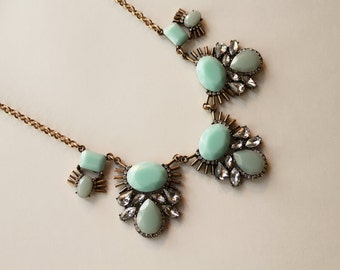 mint statement necklace summer style beach boho spring fashion jewelry crystal accents