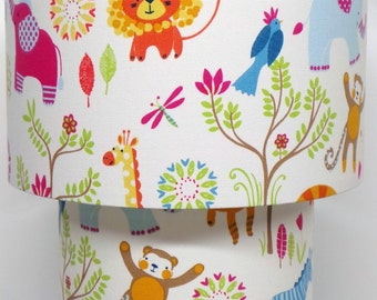 Childrens Nursery Jungle Boogie Zoo Animals Bright Colours Two tier Ceiling Light