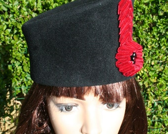 Black Velour Felt Cossack Style Hat trimmed with Crimson Velvet