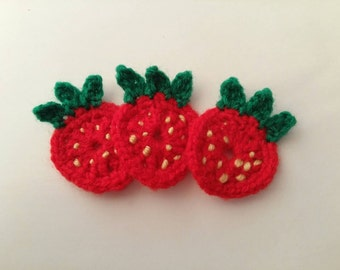 3 Crochet strawberry appliques, children's,  decoration, scrapbooking, card making,  crafts, sewing.