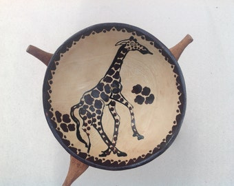 Wooden Giraffe Bowl
