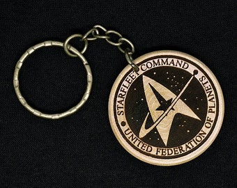 Star Trek Starfleet Command Hand Made Engraved Wood Keyring Keychain by JayEngrave