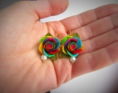 Earrings Rainbow roses Colorful roses Multi-colored earrings Floral earrings from polymer clay Earrings with roses Unusual earrings bright