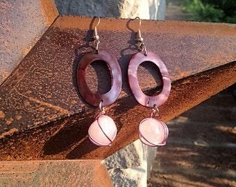 Rose Quartz & Pearled Oval Earrings