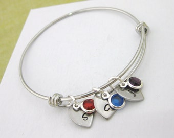 Personalised Bangle with 1, 2 or 3 Birthstones & Hand Stamped Hearts Stamped with Initial UK Seller