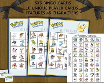 Pokemon Birthday Bingo - printable bingo game, instant download