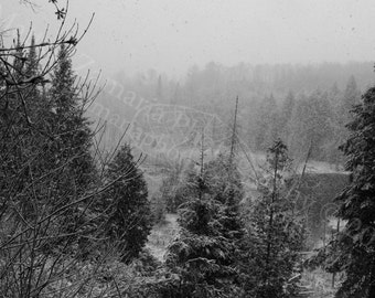 Snowy Ravine Black & White || PHYSICAL PRINT