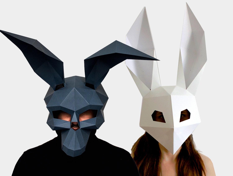 Skull mask low poly rabbit mask diy printable masks instant for Make your own halloween mask online