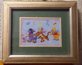 Vintage Winnie the Pooh Framed Wall Art w/ Tigger Eeyore Piglet