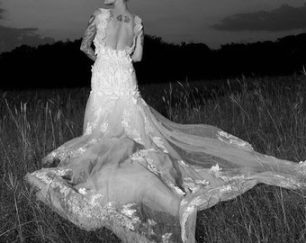 Luxury beaded mermaid wedding dress + veil + detachable train