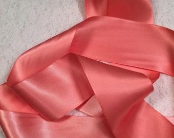 Coral Satin Ribbon/Light Coral Satin Ribbon/Coral Ribbon/Coral Bridal Sash/Coral Flower Girl/Light Coral Ribbon/Coral Wedding Belt/