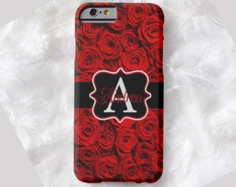 Rose Monogram Cell Phone Case, iPhone 6 case, Note 4 cell case, iPhone 6 plus cell case, iPhone 6 plus case, Galaxy Samsung S6 #318